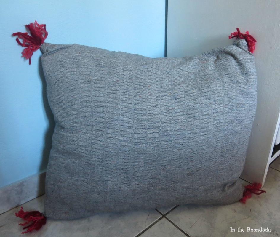 pillow with grey fabric, Tweety's Storage Stool www.theboondocksblog.com