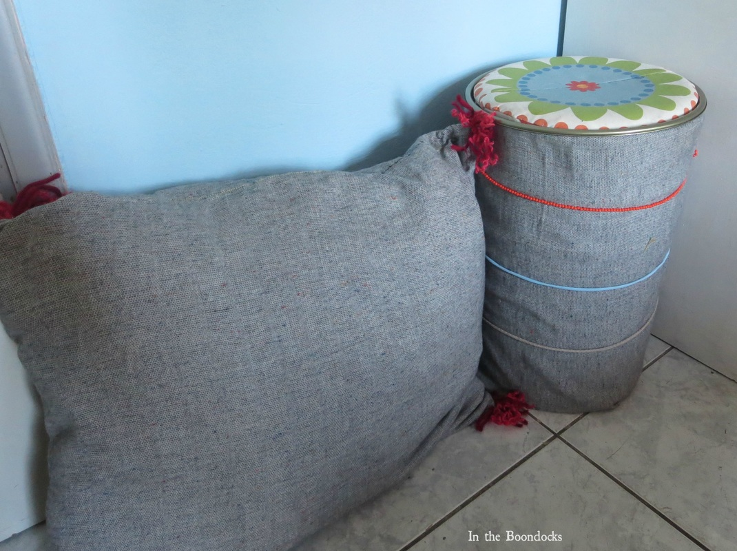 pillow and matching storage, Tweety's Storage Stool www.theboondocksblog.com