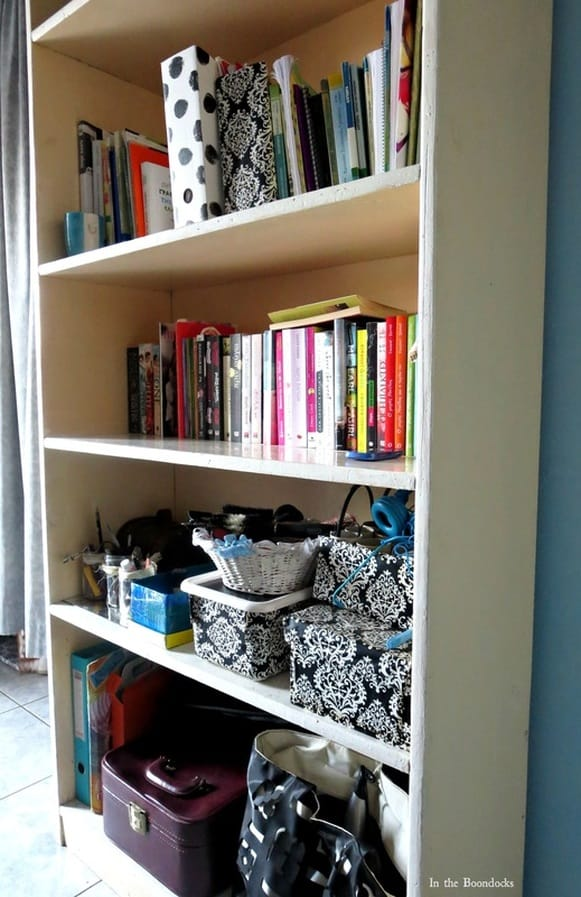 organized bookcase, A Tour of the Blue Room www.theboondocksblog.com