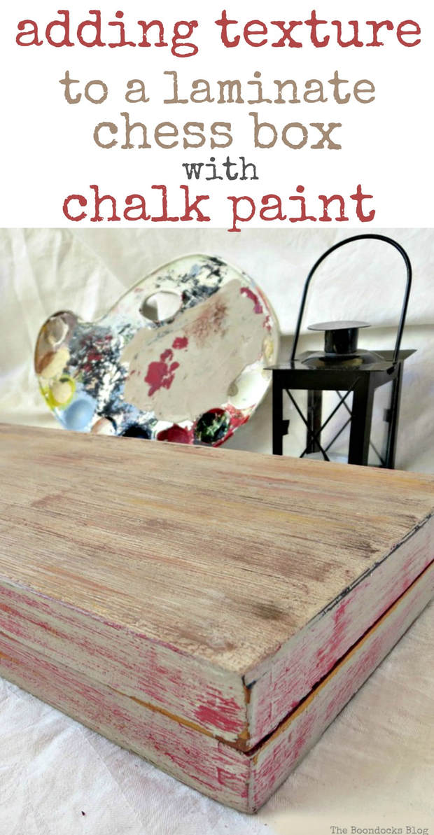 adding texture to a laminate box with chalk paint, Finished backgammon laminate box painted to look like old wood, Seeing Red www.theboondocksblog.com
