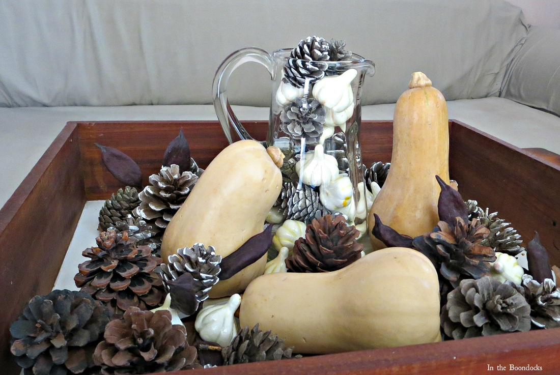 Pumpkins, Pinecones and fake squash, Faking a Fall Vignette, www.theboondocksblog.com