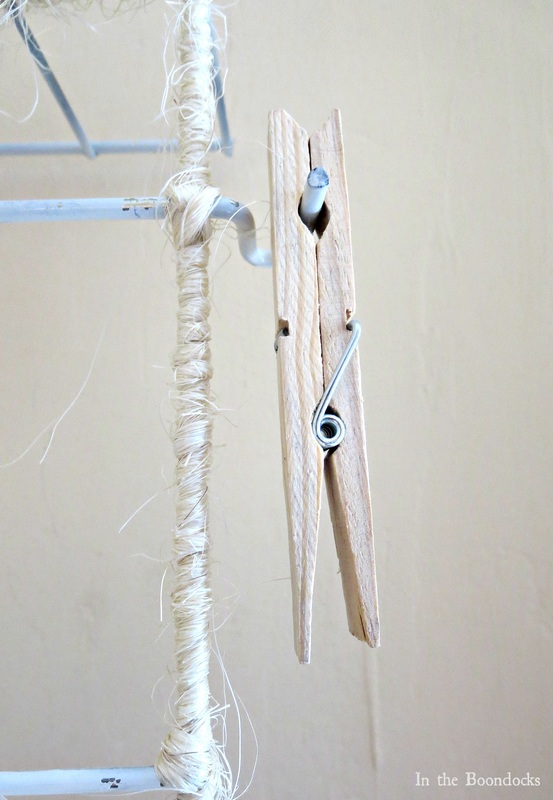 Wire Rack Organizer Wrapped with Twine clothespin The Twine Lady Returns www.theboondocksblog.com