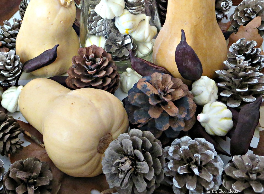 Pumpkins and pinecones, Faking a Fall Vignette, www.theboondocksblog.com