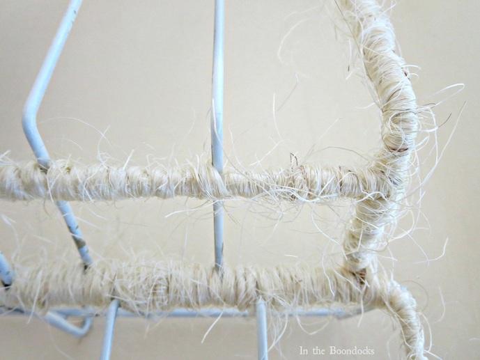 Wire Rack Organizer wrapped in Twine detail, The Twine Lady Returns www.theboondocksblog.com