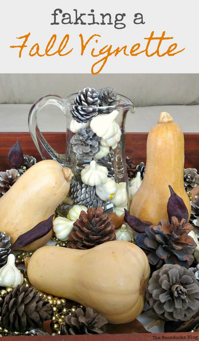 How to fake a fall vignette when there is no fall around you, #falldecor #Autumndecorating #fallvignette #easydecor #pinecones #drawerrepurpose #howtomakeafallvignette #fallcreationsFaking a Fall Vignette, www.theboondocksblog.com
