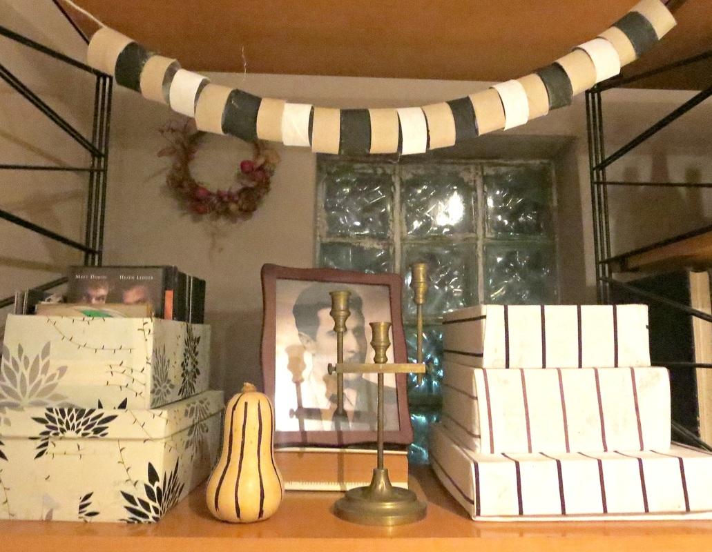 Wall Unit, paper tube garland,  The Overstuffed wall Unit, www.theboondocksblog.com