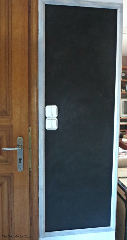 Blackboard wall with Frame finished Seeing black www.theboondocksblog.com