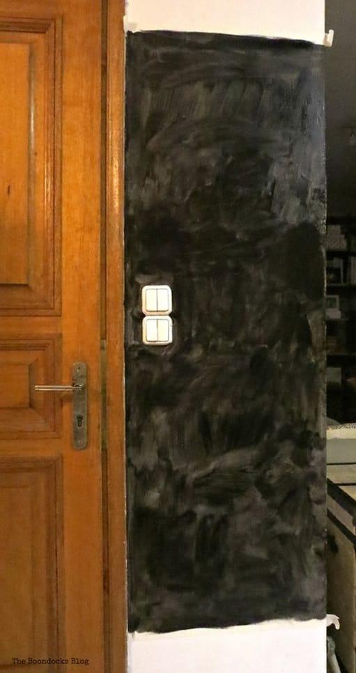 Blackboard wall with one coat of paint, Seeing black www.theboondocksblog.com