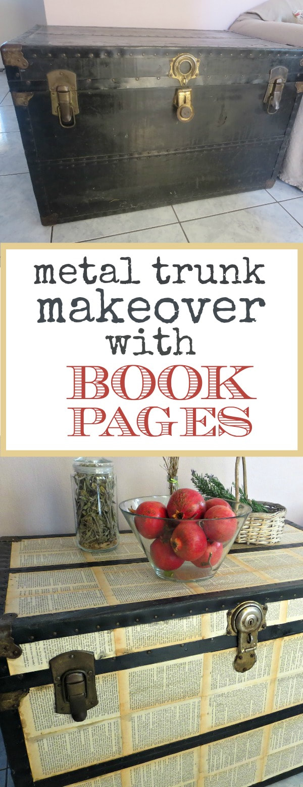 metal trunk makeover with decoupaged book pages, #trunkmakeover #metaltrunk #decoupage #modpodge #bookpagedecoupage #upcycle The Chivalrous Trunk - A metal trunk makeover with bookpages, decoupage The chivalrous Trunk www.theboondocksblog.com