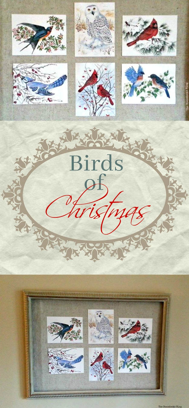 How to create wall decor with cards and a frame for Christmas, The Birds of Christmas - The Boondocks Blog