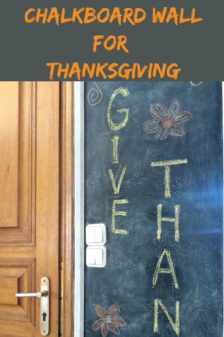 Chalkboard wall for a thanksgiving sign. #Blackboard #DIYproject #DIYchalkboardwall #easychalkboardwall #Thanksgivingsign #Givingthanks Seeing black, www.theboondocksblog.com