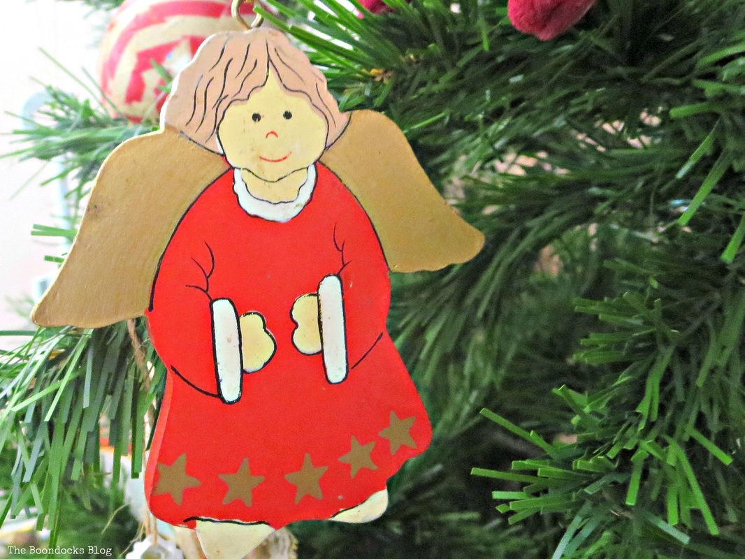 Red wooden angel on Christmas Tree The Inspiration for my Christmas tree - the Boondocks blog