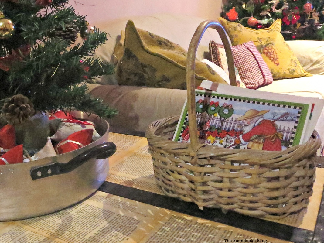 Christmas cards in a basket, Home for Christmas Blog Hop - The Boondocks Blog