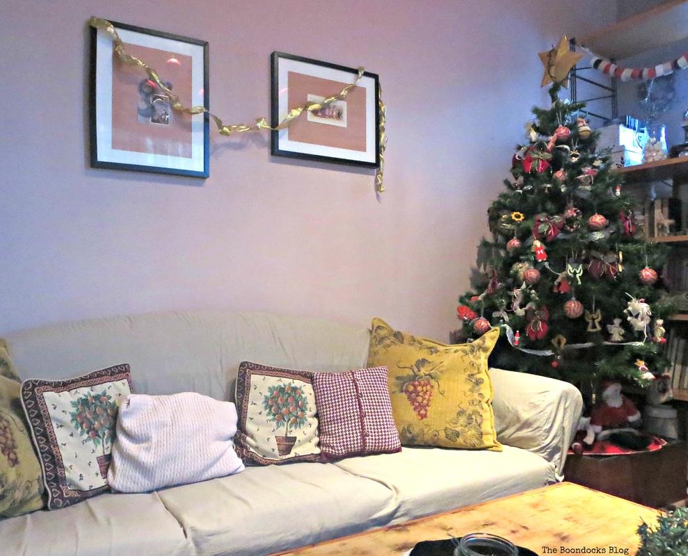 Living room sofa and tree, Home for Christmas Blog Hop - The Boondocks Blog