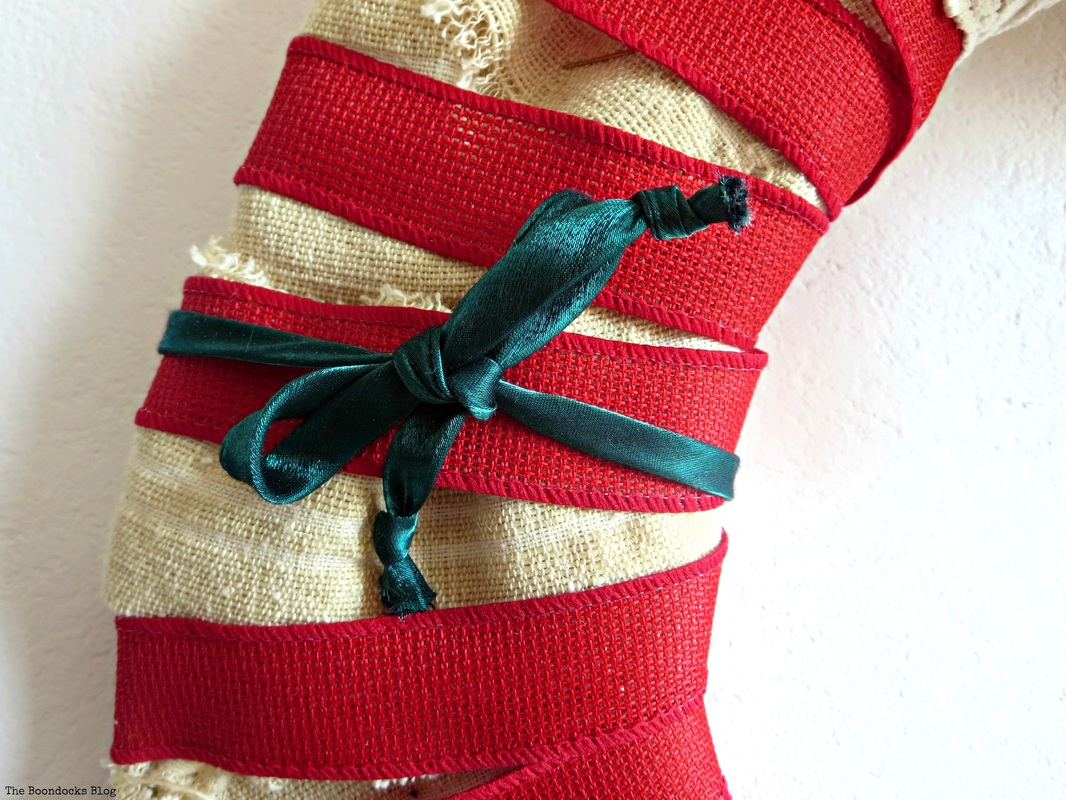 Detail of wreath red ribbon, green ribbon - the boondocks blog
