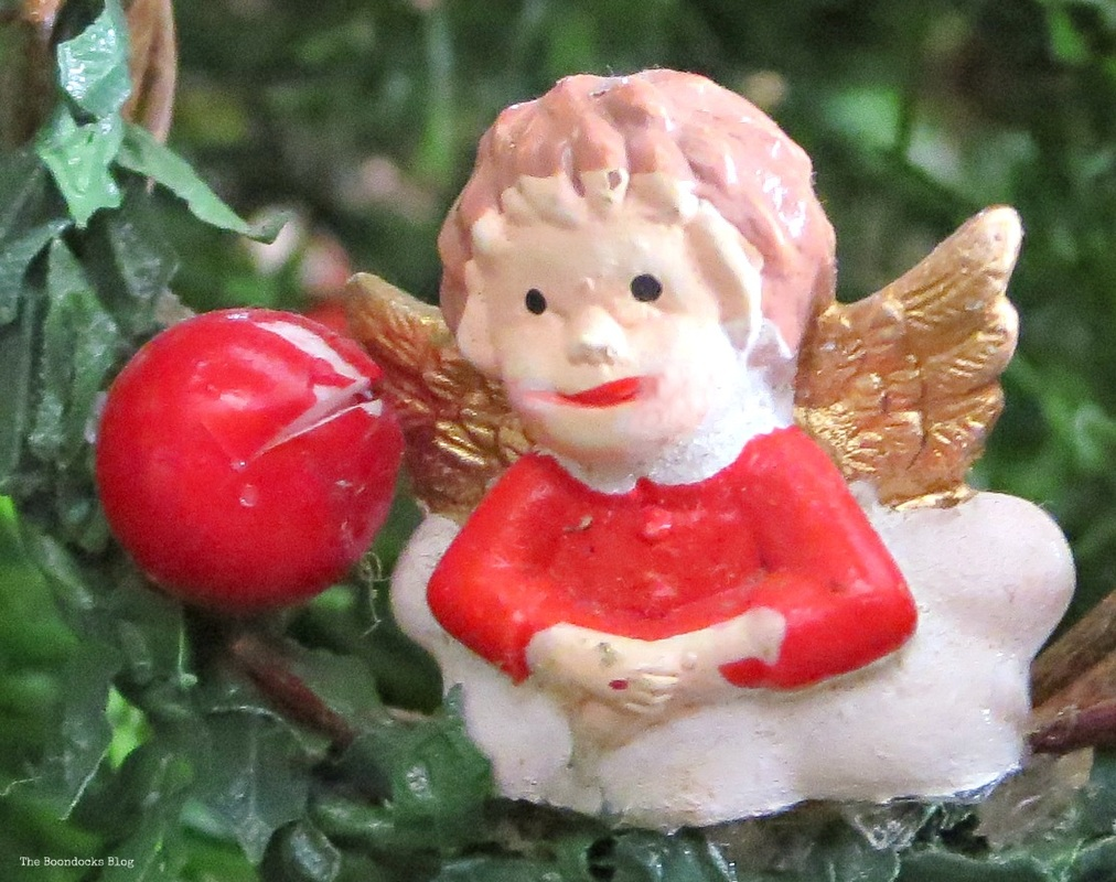 Small ceramic angel on Christmas tree -The Inspiration for my Christmas tree The Boondocks blog