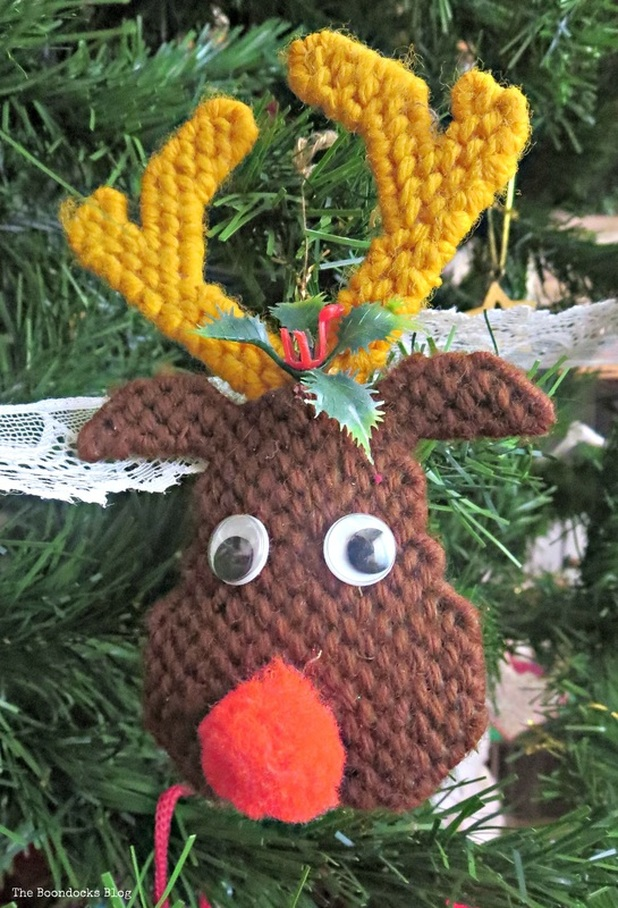 Reindeer needlepoint ornament on Christmas tree - The Inspiration for my Christmas tree the Boondocks Blog