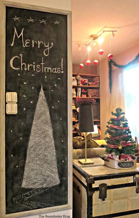 Entrance Blackboard wall, Home for Christmas Blog Hop - The Boondocks Blog