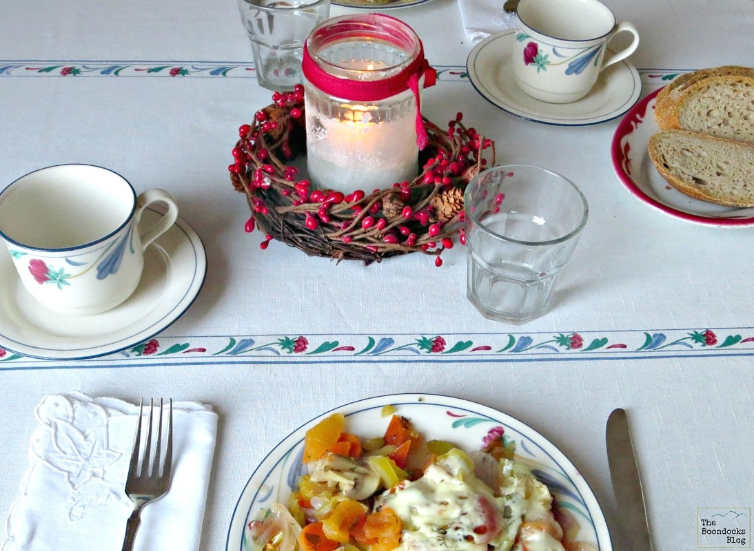 Frosted tealight at breafast table - Breafast in Greece - the boondocks blog