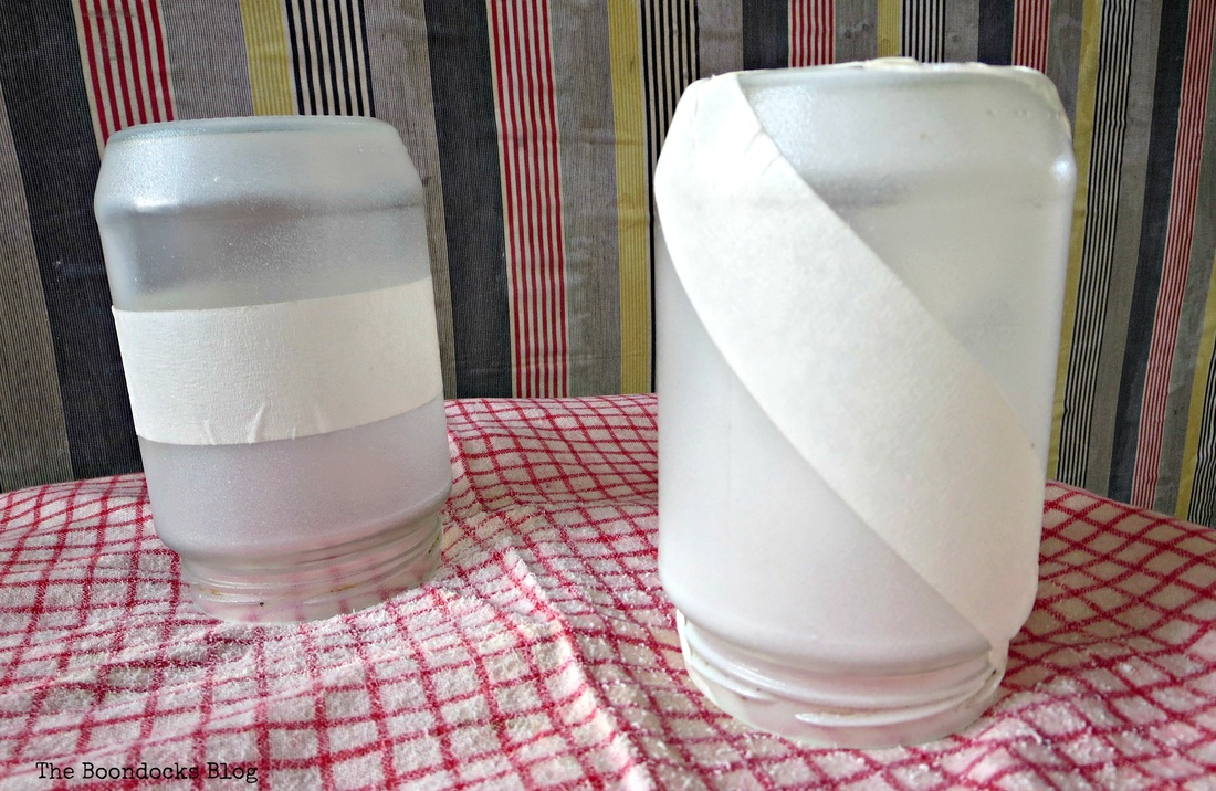 Jars with masking tape and sprayed with crystal ice, the snow spray that wasn't - the Boondocks Blog