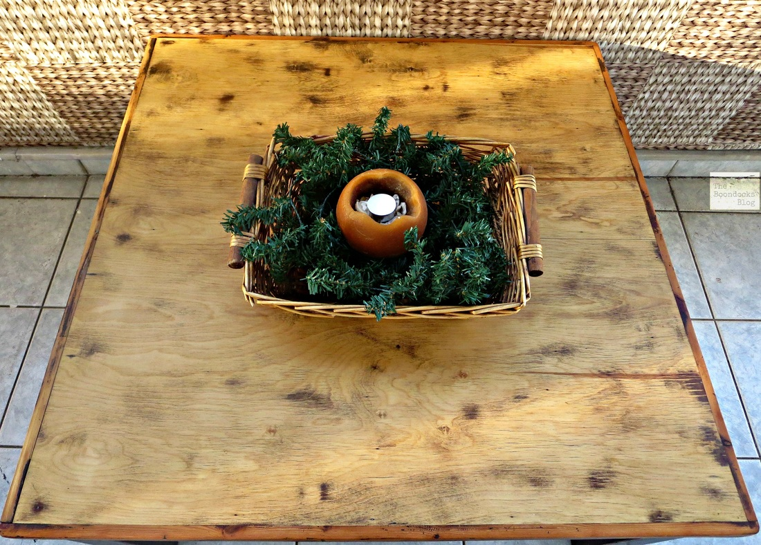 Top view of table with blonde wood, The Accidental Tri-colored Table, The Boondocks blog