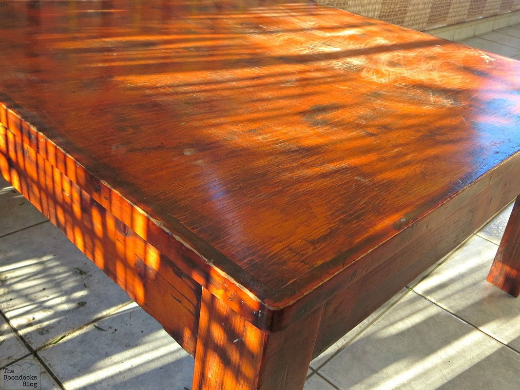 Before, orange table, The Accidental Tri-colored table - The Boondocks blog