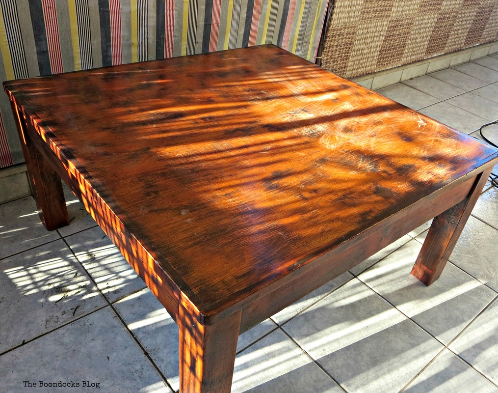 A coffe table with orange stain, The accidental tri-colored table - The Boondocks blog