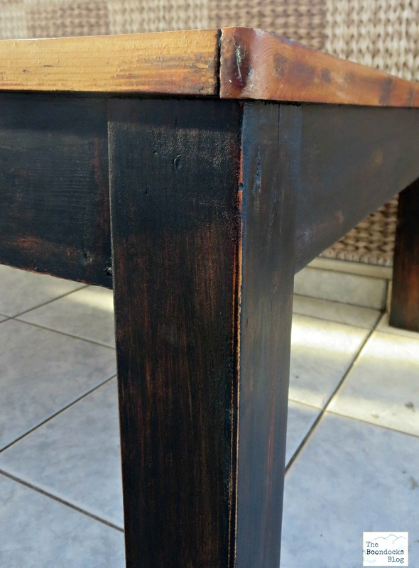 Detail of distressed black legs and side of table, The Accidental Tri-colored Table - The Boondocks blog