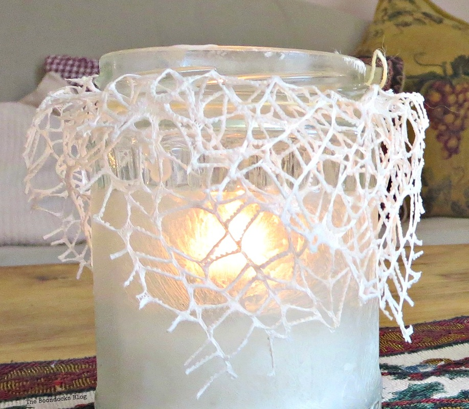 Lit tea light decorated with lace and crystal ice spray, the snow spray that wasn't - the boondocks blog