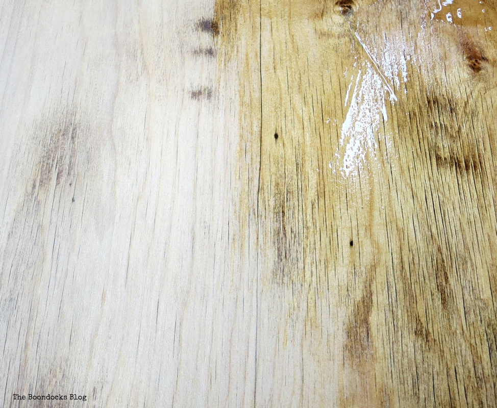 Detail of half varnished table top, The accidental tri-colored table top, The Boondocks blog
