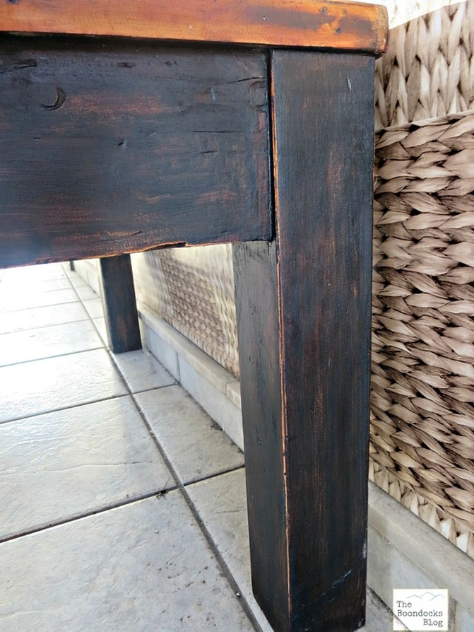 Detail of distressed black table leg, The Accidental tri-colored table - the Boondocks blog