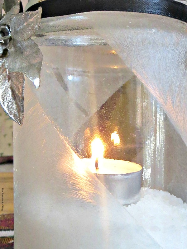 Lit tea light decorated with silver flower and crystal ice spray, the snow spray that wasn't - the boondocks blog