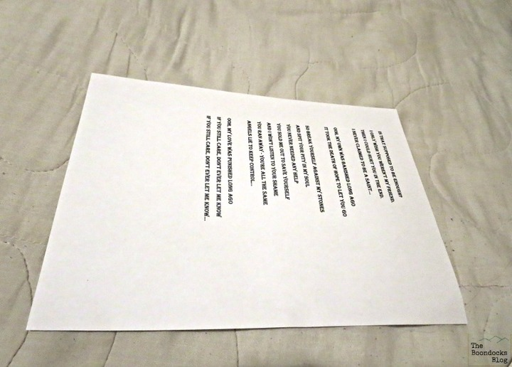 copy of lyrics on sheet, Back to Black - www.theboondocksblog.com