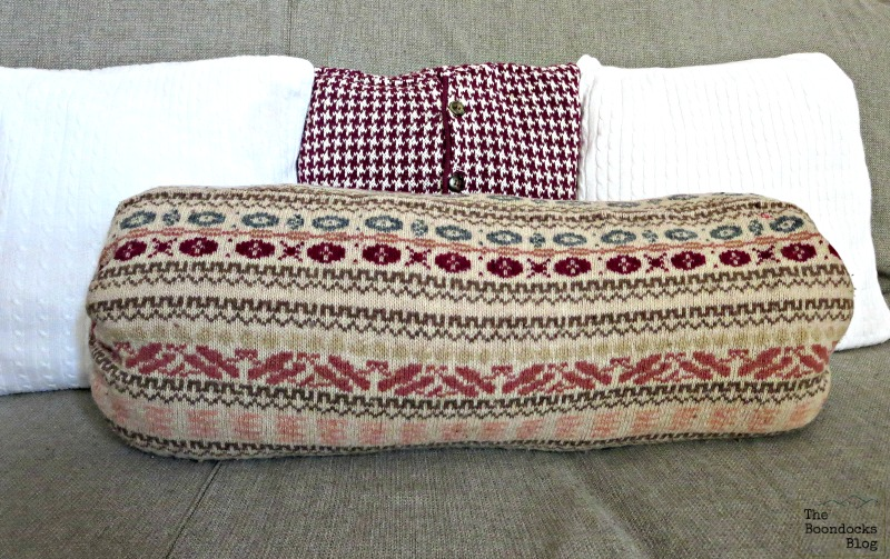 Full picture of sweater pillow, Sweater pillows the easy way -  www.theboondocksblog.com