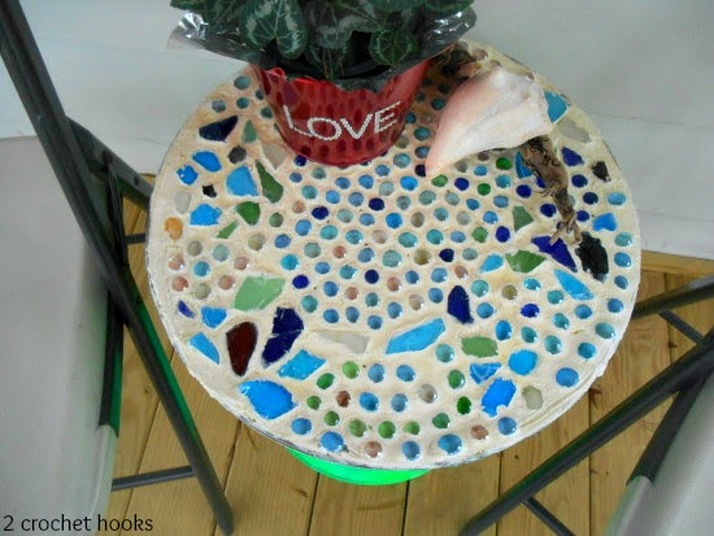 Top view of a sea glass mosaic table.