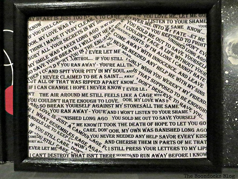 Black frame with lyrics, Back to Black - the boondocksblog.com