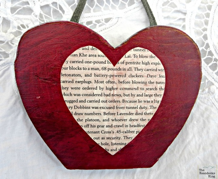decoupaged paper heart on wood, What the heart hides - www.theboondocksblog.com
