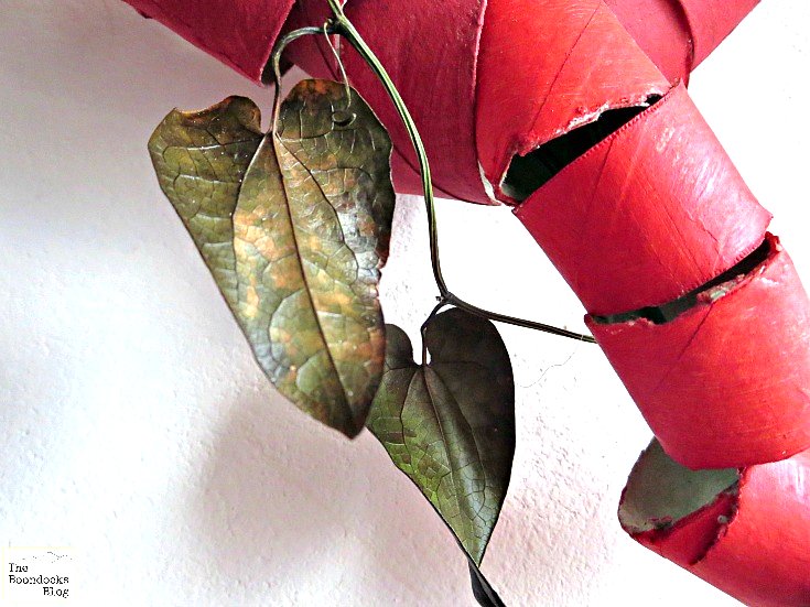 Close up image of a real ivy leaf attached to the upcycled toilet paper roll heart wreath.