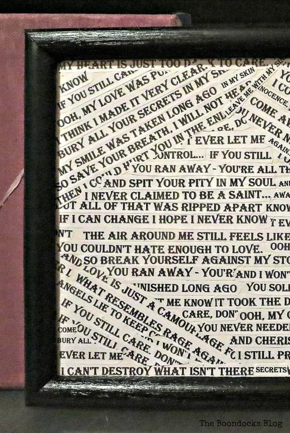 detail of frame with lyrics, Back to Black - www.theboondocksblog.com