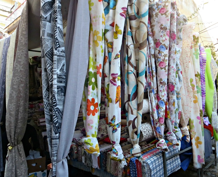 Hanging fabrics - the People's market - www.theboondocksblog.com