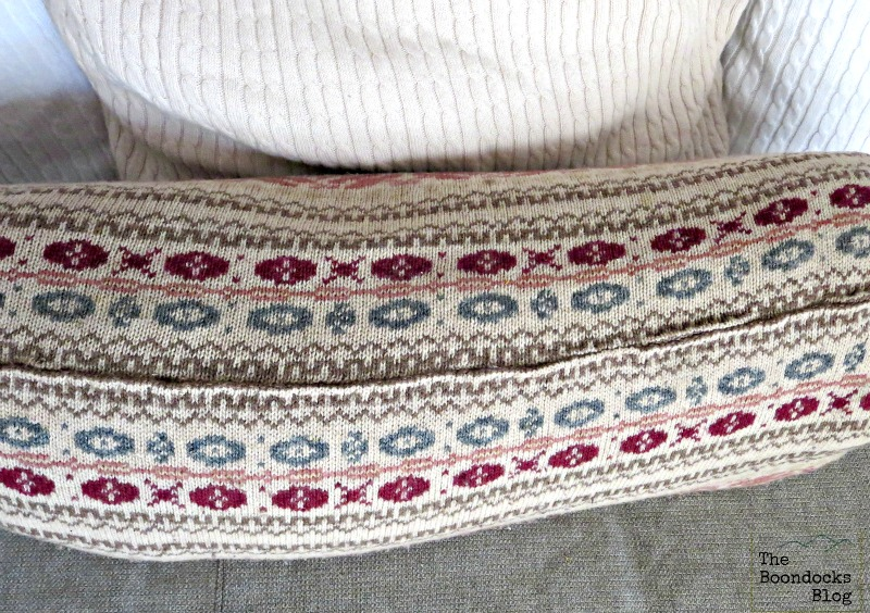 The sewed top of the pillow, Sweater pillows the easy way - www.theboondocksblog.com
