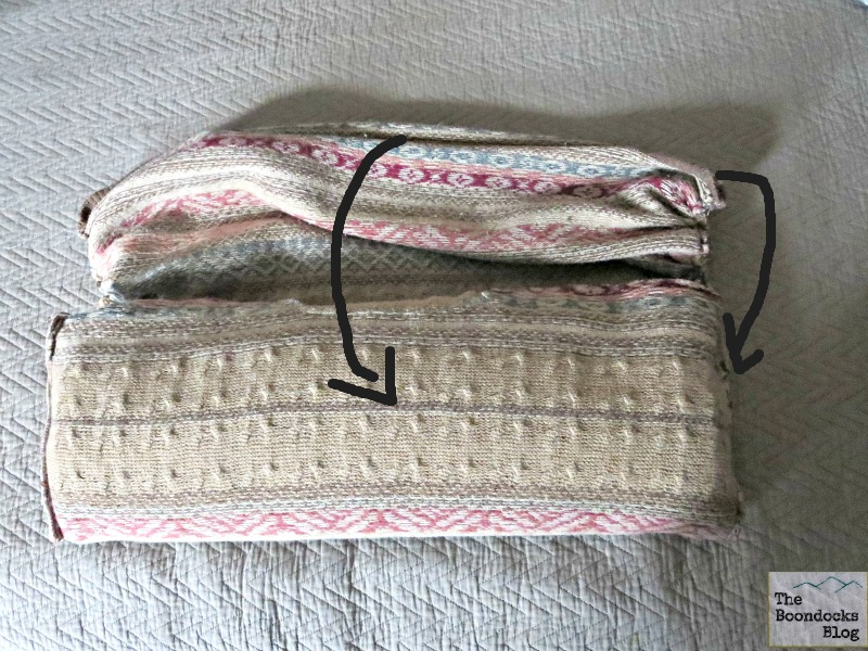 Folding into the pocket, Sweater Pillows the easy way - www.theboondocksblog.com