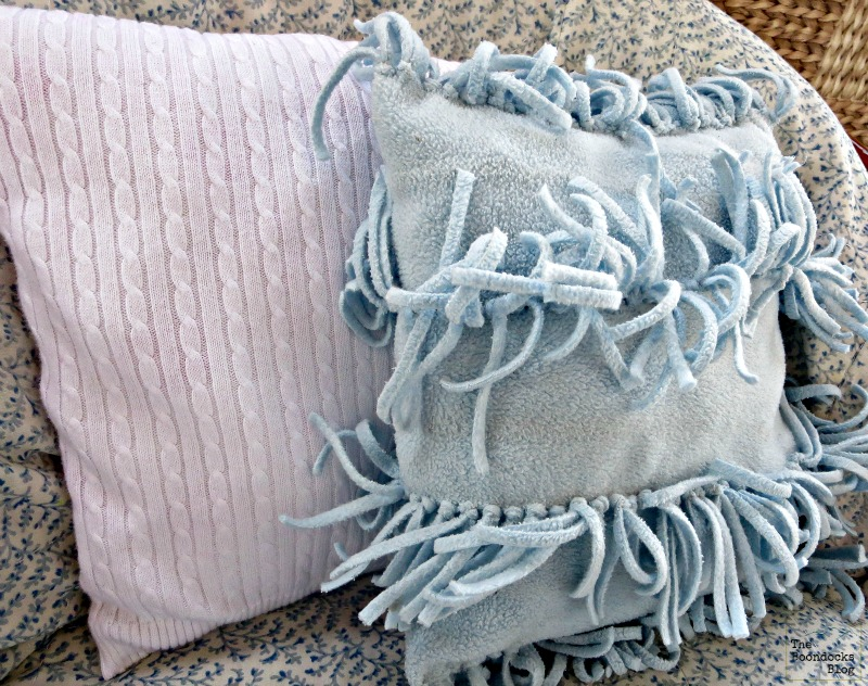 white vest pillow with fringed pillow, Sweater pillow the easy way - the boondocksblog.com