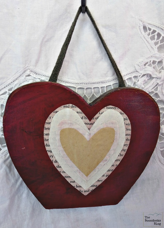 hanging decoupaged wooden heart, what the heart hides - www.theboondocksblog.com