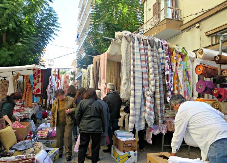 Fabric vendors, the People's Market - www.theboondocksblog.com