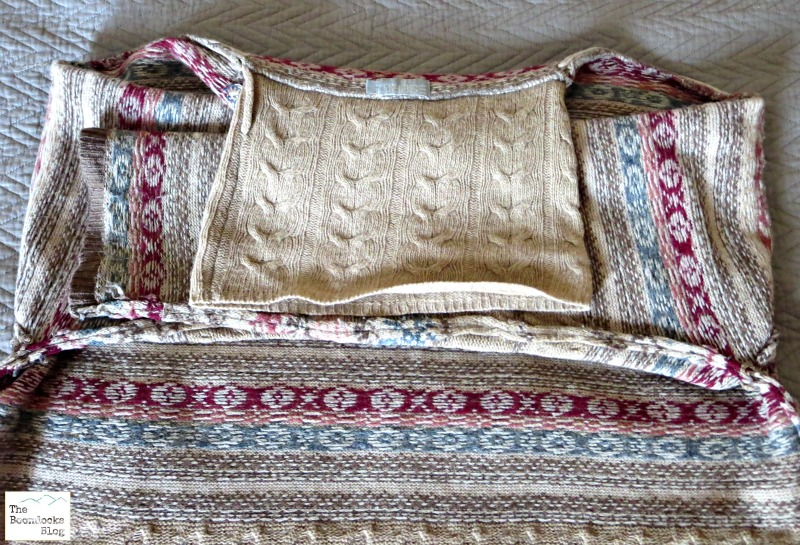 Folding the sweater,  Sweater pillows the easy way - www.theboondocksblog.com