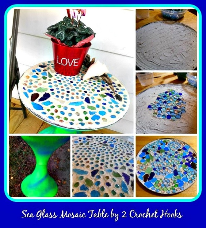 Collage of a sea glass mosaic table by 2 Crochet hooks guest post.