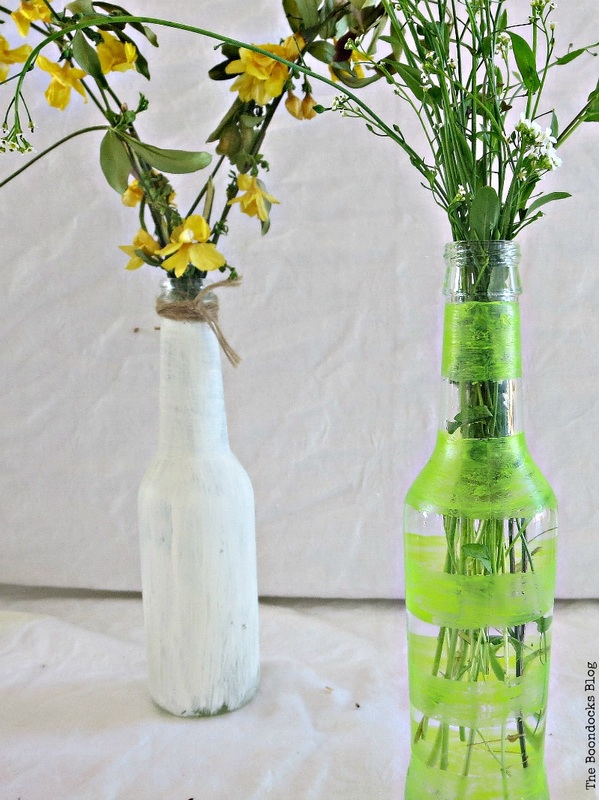 Bottles painted with chalk paint and nail polish, My Spring Roll Bottles www.theboondocksblog.com