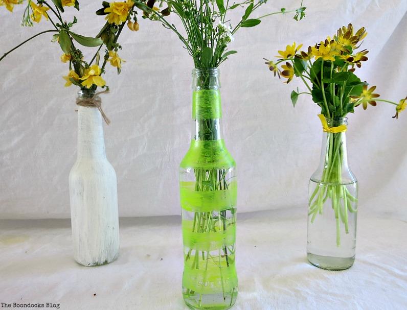 Bottles with wild flowers, My Spring Roll Bottles www.theboondocksblog.com