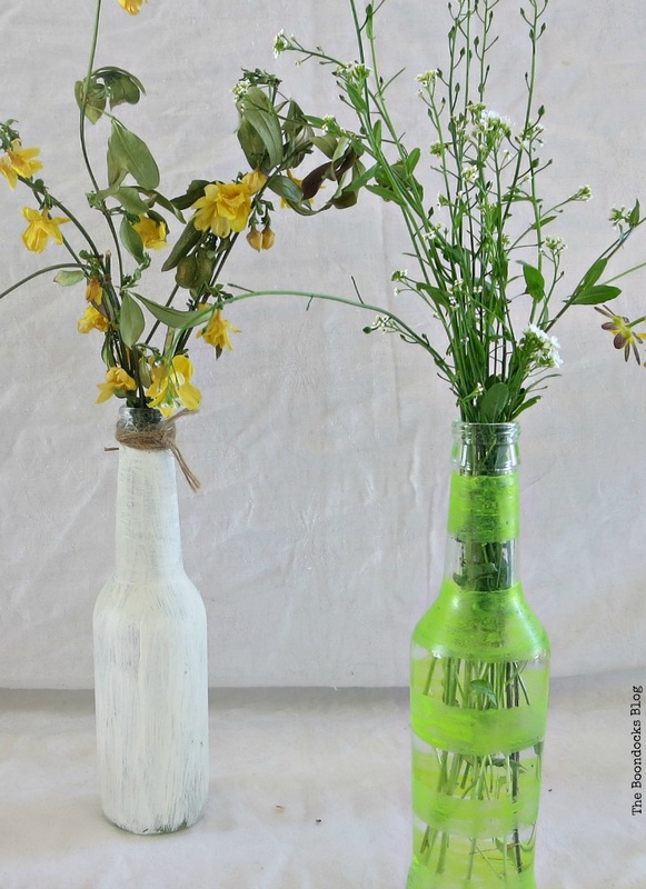 Bottles painted with nail polish and chalk paint, My Spring Roll Bottles www.theboondocksblog.com